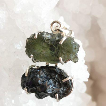 HQ Moldavite Herkimer Diamond Tektite Trio Pendant by Mark Bajerski 7.40 grams