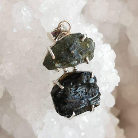 HQ Moldavite Herkimer Diamond Tektite Trio Pendant by Mark Bajerski 6.70 grams
