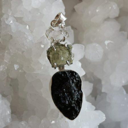 HQ Moldavite Herkimer Diamond Tektite Trio Pendant by Mark Bajerski 9.3 grams