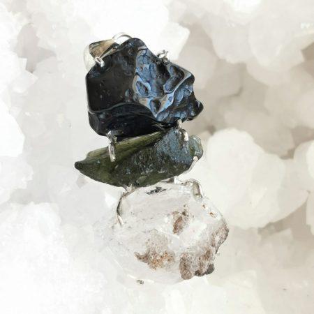 HQ Moldavite Herkimer Diamond Tektite Trio Pendant by Mark Bajerski15.50 grams