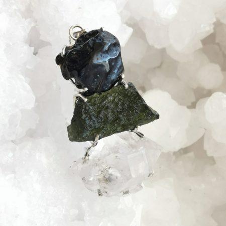 HQ Moldavite Herkimer Diamond Tektite Trio Pendant by Mark Bajerski 19.70 grams