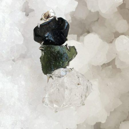 HQ Moldavite Herkimer Diamond Tektite Trio Pendant by Mark Bajerski 21.70 grams