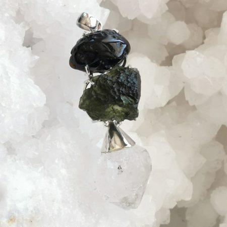 HQ Moldavite Herkimer Diamond Tektite Trio Pendant by Mark Bajerski 18.500 grams