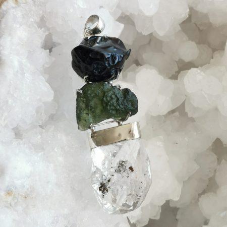 HQ Moldavite Herkimer Diamond Tektite Trio Pendant by Mark Bajerski 29.3 grams