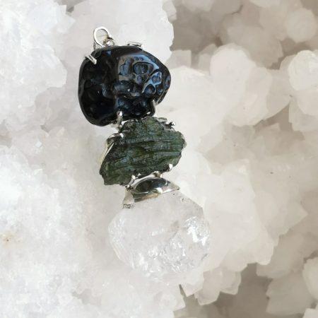HQ Moldavite Herkimer Diamond Tektite Trio Pendant by Mark Bajerski 22.10 grams