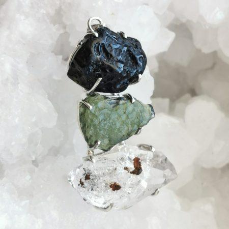 HQ Moldavite Herkimer Diamond Tektite Trio Pendant by Mark Bajerski 14.90 grams