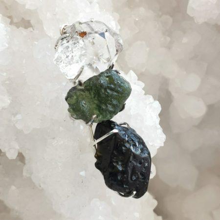 HQ Moldavite Herkimer Diamond Tektite Trio Pendant by Mark Bajerski 13.00 grams