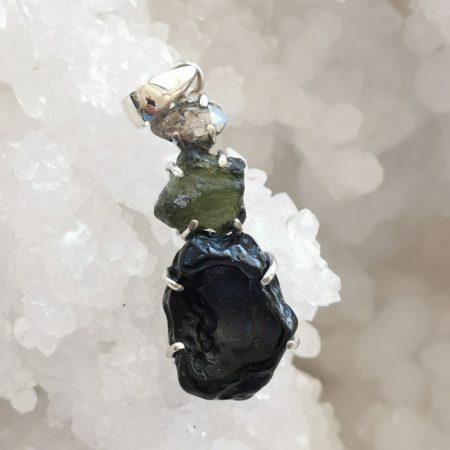 HQ Moldavite Herkimer Diamond Tektite Trio Pendant by Mark Bajerski 8.50 grams