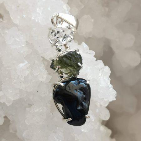 HQ Moldavite Herkimer Diamond Tektite Trio Pendant by Mark Bajerski 6.50 grams