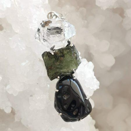 HQ Moldavite Herkimer Diamond Tektite Trio Pendant by Mark Bajerski 11.00 grams