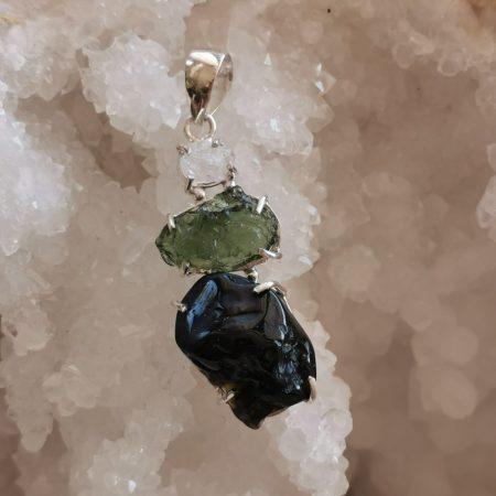 HQ Moldavite Herkimer Diamond Tektite Trio Pendant by Mark Bajerski 8.10 grams