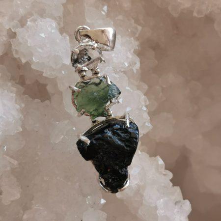 HQ Moldavite Herkimer Diamond Tektite Trio Pendant by Mark Bajerski 5.40 grams