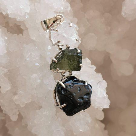 HQ Moldavite Herkimer Diamond Tektite Trio Pendant by Mark Bajerski 7.30 grams