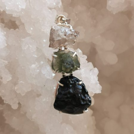 HQ Moldavite Herkimer Diamond Tektite Trio Pendant by Mark Bajerski 8.80 grams