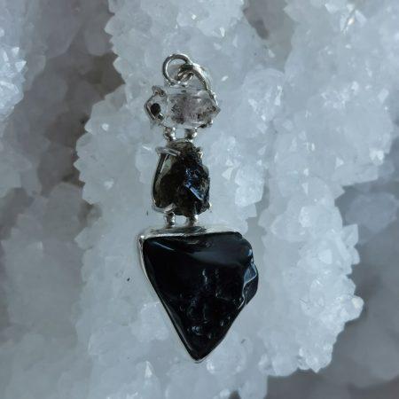 HQ Moldavite Herkimer Diamond Tektite Trio Pendant by Mark Bajerski 7.10 grams