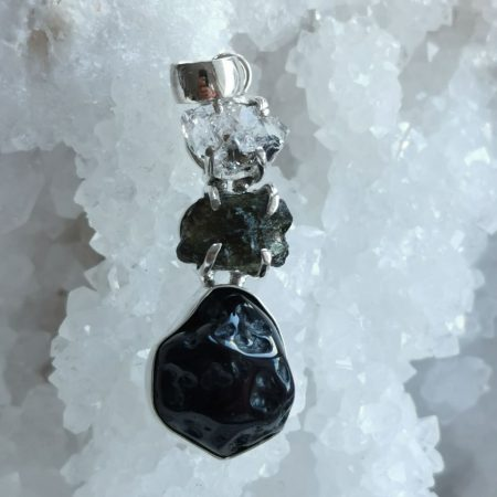 HQ Moldavite Herkimer Diamond Tektite Trio Pendant by Mark Bajerski 7.60 grams
