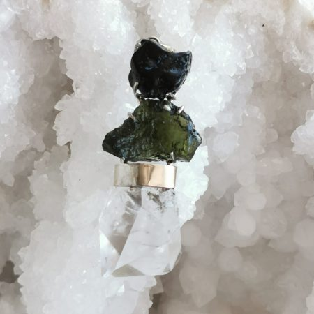 HQ Moldavite Herkimer Diamond Tektite Trio Pendant by Mark Bajerski 28.40 grams