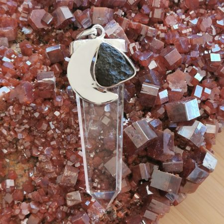 HQ Moldavite with Clear Quartz Pendant by Mark Bajerski