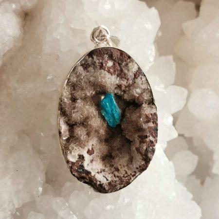 HQ Cavansite Healing Crystal Pendant by Mark Bajerski