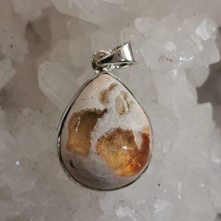 HQ Fire Opal Healing Crystal Pendant by Mark Bajerski