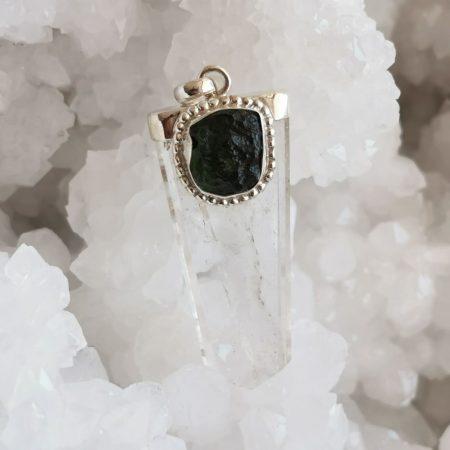 Moldavite and Clear Quartz Healing Crystal by Mark Bajerski