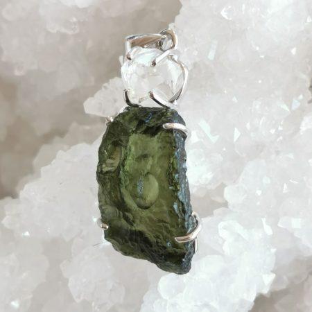 Moldavite and Herkimer Diamond Healing Crystal Pendant by Mark Bajerski