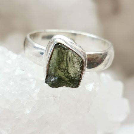 Moldavite Ring US Size 8
