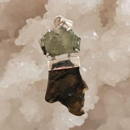 Moldavite and Tektite Healing Crystal Pendant by Mark Bajerski