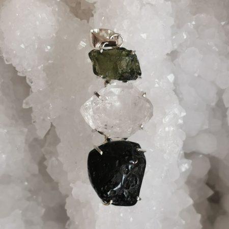 HQ Moldavite Herkimer Diamond Tekite Trio Healing Crystal Pendant by Mark Bajerski